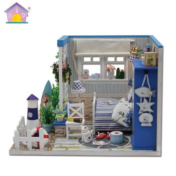 Beach Cottage Dollhouse Room DIY Kit With Furniture and LED Lights