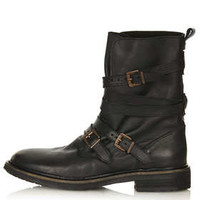 ARRESTED Buckle Biker Boots - Black