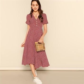 Button Front Allover Print V-Neck Dress Women Posh Burgundy A Line Short Sleeve Fit Flare Dresses