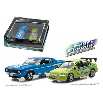 "1969 Chevrolet Yenko Camaro and 2002 Mitsubishi Lancer Evolution VII Drag Scene \2 Fast and 2 Furious"" Movie (2003) Diorama Set 1/43 Diecast Model Cars by Greenlight"""