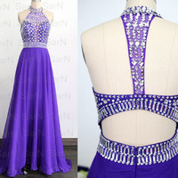 Purple Prom Gown, Chiffon Crystal Special Occasion Dresses, Crystal Prom Dresses, Halter with Crystals A Line Formal Gown