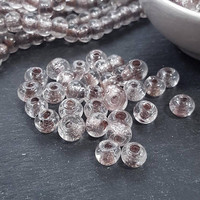 BULK - 50 Clear Rustic Glass Bead - Traditional Turkish Artisan Handmade - 8mm - Turkish Glass Beads
