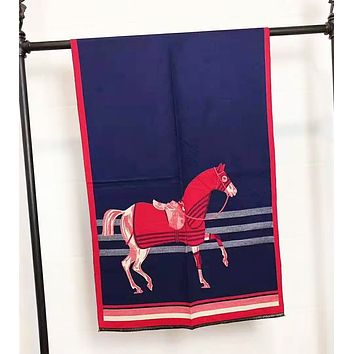 Hermes Autumn And Winter Women New Fashion Horse Print Contrast Color Scarf