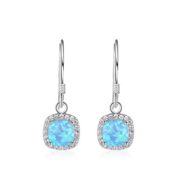 Fashion Square Blue Created Opal Sterling Silver Earrings