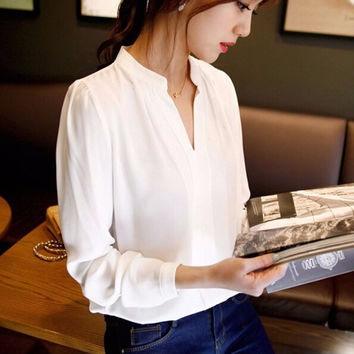 New Casual White Women Chiffon Blouse Ladies Solid Elegant V-neck Blouses Long Sleeve OL Office Shirt Plus Size