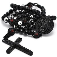 Black Crystal Pave Round Beads Cross Rosary Men Bold Chain Necklace 37""