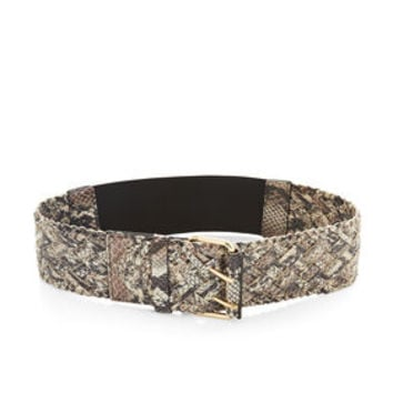 Neutral BCBG Braided Faux-Leather Python Waist Belt
