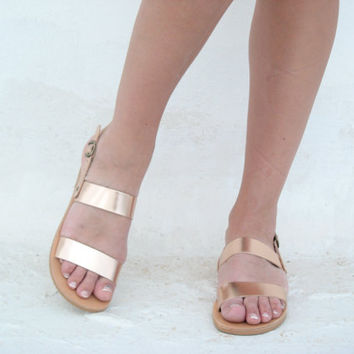 Metallic Leather Sandals! Luxury Rose Gold Leather Strappy Sandals/ MANY COLOURS / Strap sandals/Boho/Indie/Hippie/ Ancient Greek Sandals