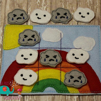Rainbow clouds tic tac toe game embroidered, board game activity travel game quiet game busy bag felt board play set summer rain cloud sun