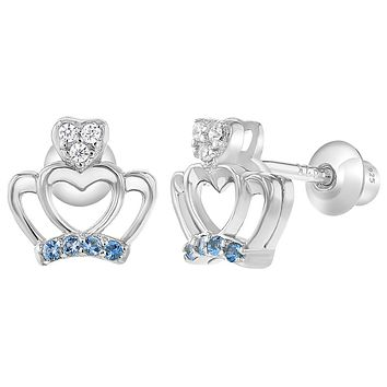 925 Sterling Silver Blue Clear Cubic Zirconia Crown Princess Screw Back Earrings for Girls