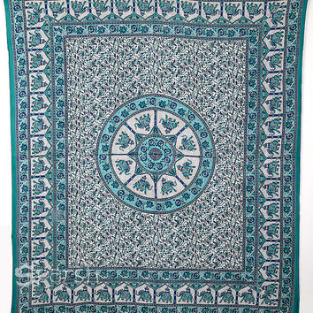 Turquoise Queen Elephant Mandala Hippie Tapestry Wall Hanging Throw Indian Bedspread Bohemian Home Decor Wall Decor Ethnic Art