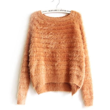 2016 Autumn Spring Women Cashmere Warm Sweater Fashion Sexy O-neck Sweater Women Wool Sweater Long Sleeve Loose Fluffy Pullover