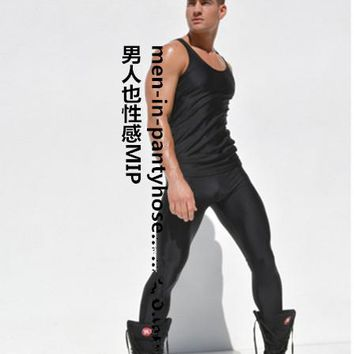 Golesun Male ultra gloss elastic tights ankle length trousers male wire ankle long johns male plus size legging men's clothing