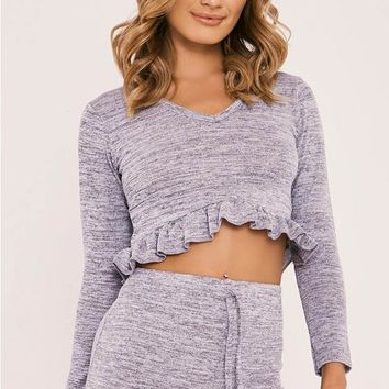 LINDZEE GREY FRILL DETAIL TOP AND SHORTS LOUNGE SET