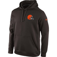 Cleveland Browns Nike KO Chain Fleece Pullover Performance Hoodie – Brown