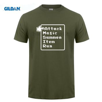 GILDAN RPG Final Fantasy T Shirt battle menu, videogame, nes, snes, 8 bit, dragon quest, super  sega T-shirt Graphic