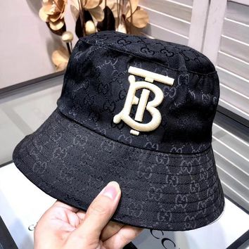 Free Shipping-Burberry x GUCCI Joint embroidery TB letter fisherman hat