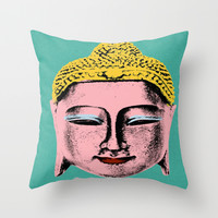 Pink Buddha Throw Pillow by Aloke Design
