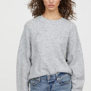 Bead-embroidered Sweater - Light gray melange - Ladies | H&M US