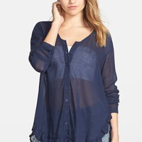 Junior Women's Volcom 'Trailin' By' Sheer Cotton Voile Top,