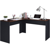Contemporary L-Shaped Desk in Slate Gray & Cherry Wood Finish