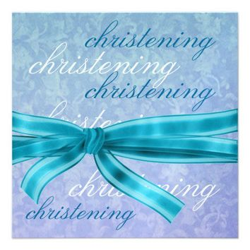 Baby Boy Christening Blue Premium Metallic Custom Invitation from Zazzle.com