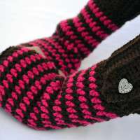 Chocolate strawberry crochet button wrist warmers, arm warmers, fingerless gloves mittens in a longer size