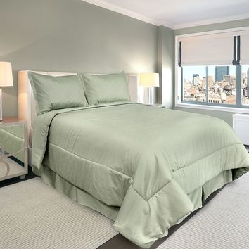 Veratex American Collection 300-Thread Count Solid 4-pc. Comforter Set - Cal. King (Green)