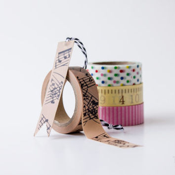 Washi Tape - Musical Notes - Brown and Black Craft Adhesive Tape