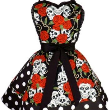 Tattoo Art Rockabilly Skulls and Roses Polka Dots Apron
