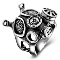 New Men's Steampunk Steam Engine Biker Ring Doctor Who Punk Machinery Black Apocalypse Gas Mask Ring Fine Jewelry Rings