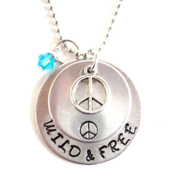 Wild and Free Necklace Hand Stamped Peace Hippie Boho Yoga Jewelry Engraved Unique Gift For Her Christmas Stocking Stuffer Under 50 Item N4