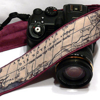 Vintage Map Camera Strap. Camera Accessories. SLR, DSLR Camera Strap. Purple Camera Strap. Gift For Photographer.