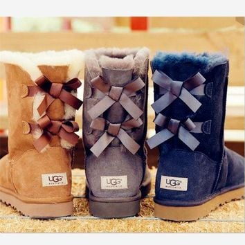 PEAP UGG bow leather boots boots in tube Boots HIGH HIGH QUALITY
