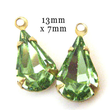 Peridot Green Rhinestone Pear Jewels, Golden Brass Settings, One or Two Rings, 13mm x 7mm, Vintage Style Glass Beads