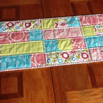 Pink Aqua and Lime Quilted Table Runner, Table Topper, Quilted Table Mat,  Quiltsy Handmade