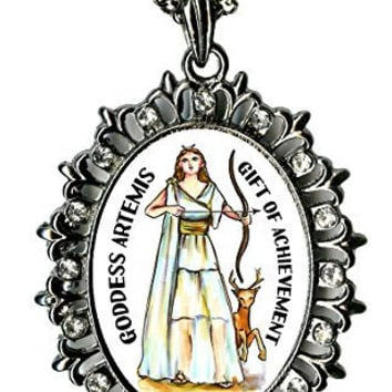 "Goddess Artemis Gift of Achievement Huge 2 1/2"" Gunmetal Medallion Rhinestone Pendant"