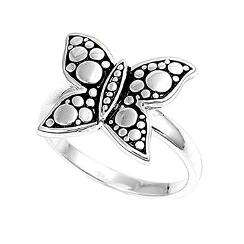 925 Sterling Silver Bubble Butterfly 15MM Ring