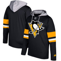 Pittsburgh Penguins adidas Silver Jersey Pullover Hoodie - Black
