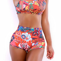 Retro High Waist Print Bikini B003962