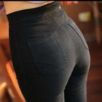 2015 Hot Woman Vintage Black Slim Pencil Pants Stretch Blue leggings Denim Skinny Jeggings Pants High Waist Jeans Female Jeggins