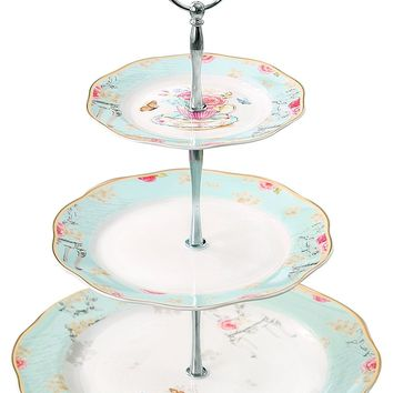 Jusalpha Light Blue 3-tier Ceramic Cake Stand- Cupcake Stand- Tea Party Pastry Serving platter in Gift Box FD-QD3T