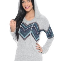 Gray/Teal Malibu Run Hoodie Top | $10.00 | Cheap Trendy Hoodies Chic Discount Fashion for Women | Mo