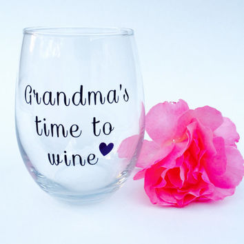 Grandma's Time To Wine // Stemless Wine Glass