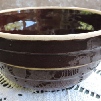 Antique Primitive USA Brown Glaze  Stacked Stoneware Disc Pattern  Bowl 8 IN USA
