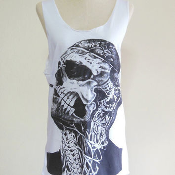 Zombie Boy Rick Genest Skull Tattoo Art Skull -- Zombie Boy Shirt Women Tank Top Tunic Sleeveless White T-Shirt Skull T-Shirt Size S , M