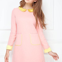 Pink Pocketed Long Sleeve Wool Dress
