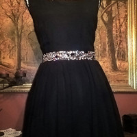 City Studio Formal Cocktail Audrey Tea Sleeveless Open Back Dress Prom Pinup Circle Skirt Swing Rockabilly Gems Black Size 9 Medium
