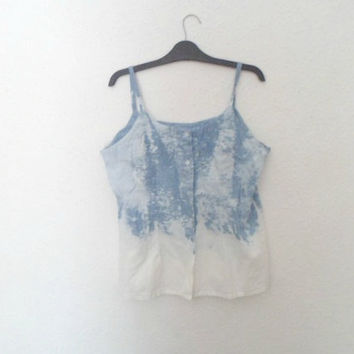 Womens Denim Dip Dyed & Acid Washed Strapped Button Up Tank Top Shirt