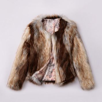 Streetstyle  Casual Fluffy Fancy Gradient Faux Fur Collarless Plus Size Coat